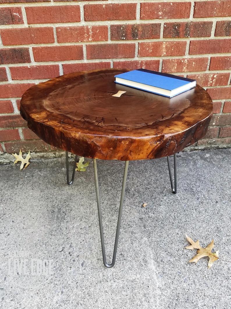 Wood Slice Coffee Table.Tree Slice Coffee Table Live Edge Claro Walnut Dark Wood Furniture Maple Inlay Natural Wood Solid Rustic Modern Round Circular