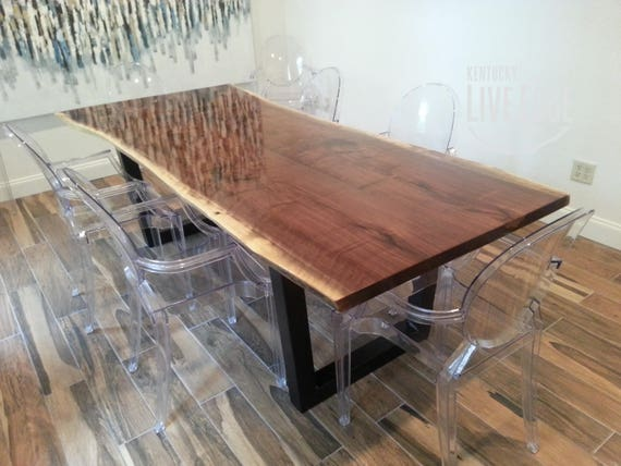 Live Edge Dining Table Made To Order Custom Dining Table Etsy - Conference table bases metal
