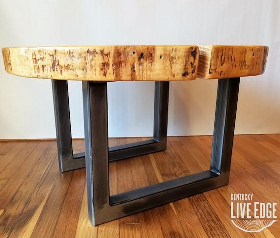vente chaude en ligne e5f76 38a09 Table basse ronde - Live Edge-industriel-arbre  Slice-Log-rustique-meubles-séjour chambre-côté Table bout de canapé-naturel  bois - érable dalle