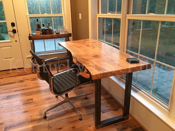 Your Custom Desk Live Edge Desk Industrial Desk Rustic   Etsy