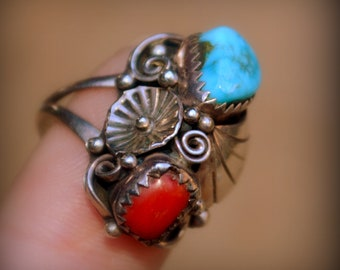 Bench made Navajo Red Coral RingSterling and Red Coral Wrapped in Feathers Navajo RingMid Century Coral RingSouthwest Navajo Ring For Her