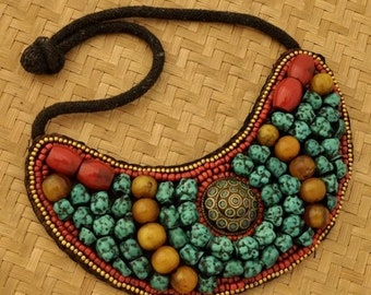 9aa2a42c833 Sale Vintage Ladakh Yellow Red Amber Turquoise Coral Brass Necklace Bib  northern India ItemUN385