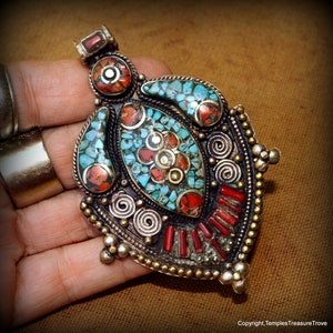 Vintage Tibetan Nagaland  Sacred Conch Shell Sterling  Repousse Focal Bead with turquoise and coral  Om Insignia Inlay
