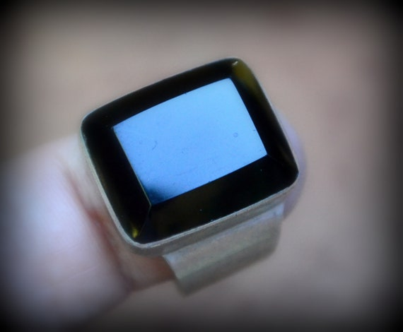 Faceted Black Onyx Ring Size 9~Black Onyx and Ster