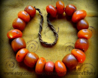 Deep Egg Yolk Amber Resin Necklace 19 Spectacular Glowing Beads Nepalese Statement Necklace Gift for Her Last Sourced from Kathmandu,Nepal
