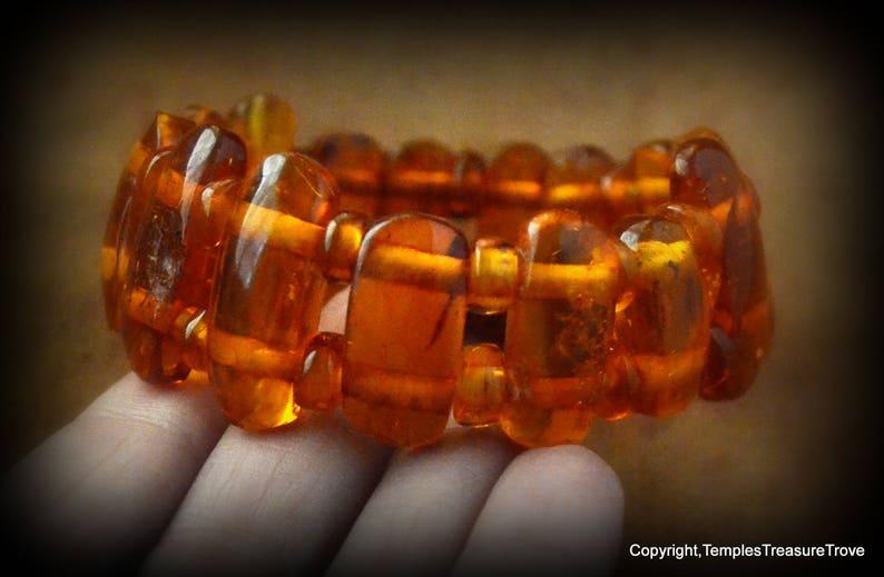Baltic Amber Stretch Bracelet 26.34gms Cognac Baltic Amber Cuff large beads unisex Baltic Amber Cuff Vintage Amber Cuff Bracelet from Europe