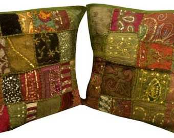 Pair Tribal Sari Pillows Throw Pillows Floor Pillows East Indian Home Decor Couch Sofa Bed Wall Art Red Tent Decor Boho Chic Gift For Her