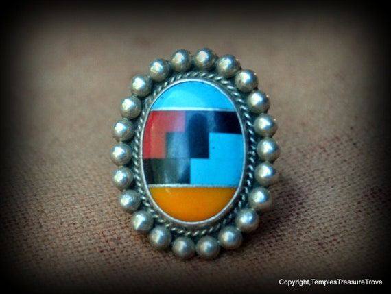Vintage Zuni Inlaid Stone and Sterling Ring ~Class