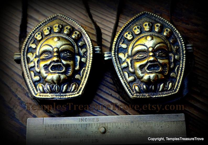 Tibetan Lord Mahakala Ghau Box Necklace Shrine 5 Skulls transmute to 5  Wisdoms Protective Amulet with Prayer Flag inside from Kathmandu