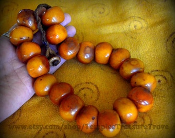 Nepalese Honey Amber Resin 19 Bead Traditional Necklace Rich Dark Golden Amber Resin Fair Trade Statement Necklace Imported From Kathmandu