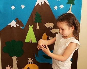 Camping Felt Activity Wall, Camping Birthday Decor, Outdoors Hammock Party Decoration, Game Art Accessory, Camping Gift Felt, Trees, Lake