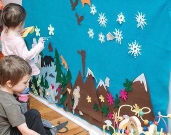 Sasquatch Felt Wall - Yeti Cryptid Big Foot Kid Gift // Girls Boys ages 3, 4, 5, 6 // Felt Board // Washington Oregon Pacific Northwest Gift