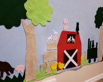 Farm Birthday Decor // Felt Activity Wall // Farmhouse Kid Gift // Farmhouse Wall Decoration // Girl Boy 4 5 6 7 year old Party Gift Animals