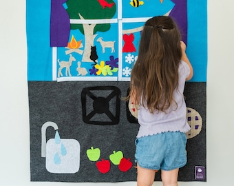 Felt Wall: From my Kitchen Window // Montessori Learning Tool // Giant Quiet Board // Baking Pies