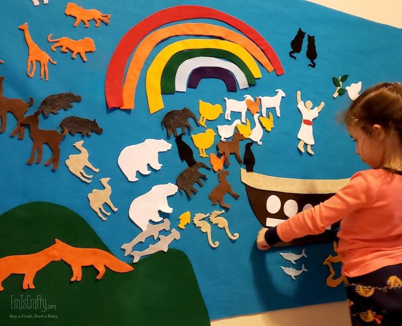 Noah's Ark Felt Wall // Old Testament Church Gift // Kids image 0