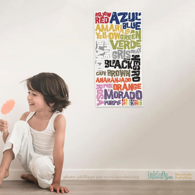 Rainbow Color Kid's Print  Colors in English Spanish  image 0
