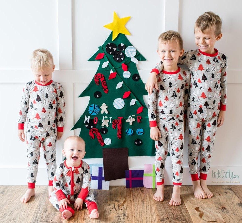 christmas felt tree wall activity felt tree for toddlers etsy. Black Bedroom Furniture Sets. Home Design Ideas