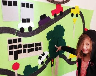 Race Car Felt Wall // Birthday Party Backdrop Game // Kids ages 3, 4, 5, 6 // Girls boys learning toy // Girl boy gift // Car Felt Mat Board