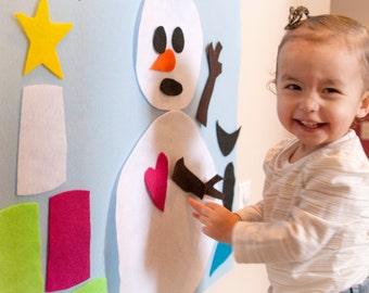 Snowman Felt Wall Hanging - Winter Felt Art Wall - Felt Wall Activity - Christmas Hangings - gift girl 5 years old - Crafty Girls Toddler