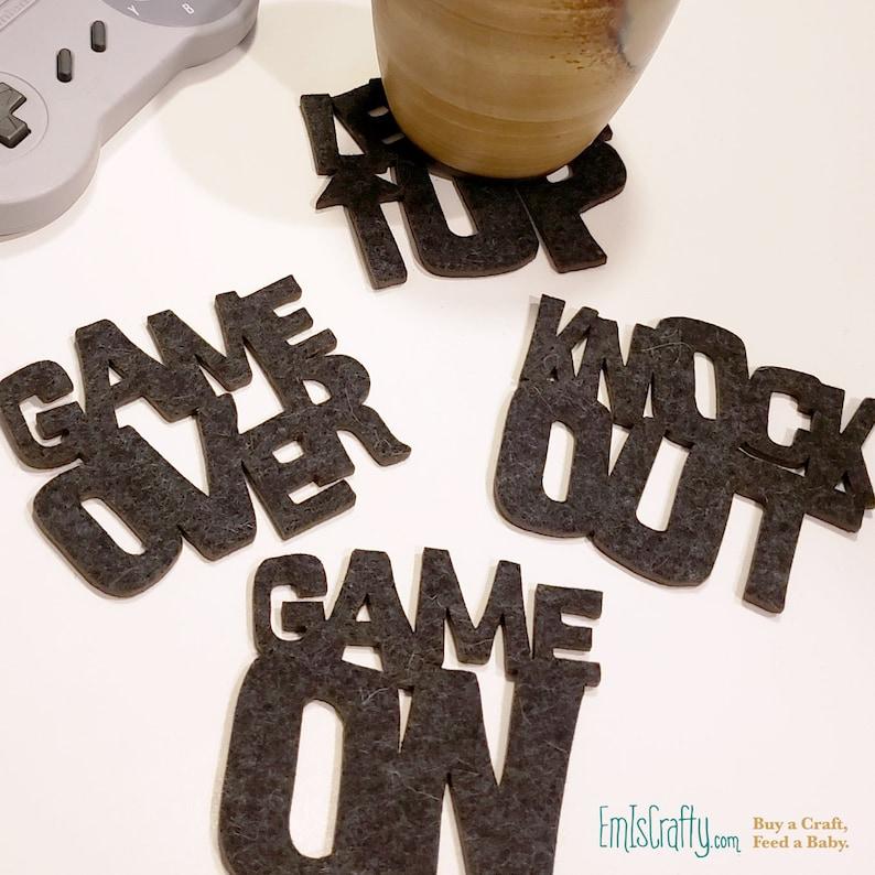 Gamer Christmas Gift // Laser Coasters // Felt // Video Gaming image 0