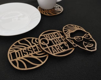 RBG Coasters // Roth Bader Ginsberg Birthday Gift //  Drink Coasters // Feminist Gift // Equality Man Woman Gift