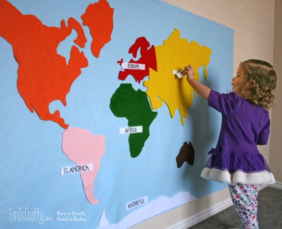Montessori felt map of world continents spanish french gumiabroncs Gallery