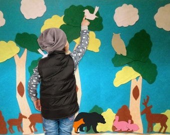 Forest Felt Wall - Montessori Learning. Kids ages 3, 4, 5, 6, girls and boys learning with toys. Girl or boy gift.