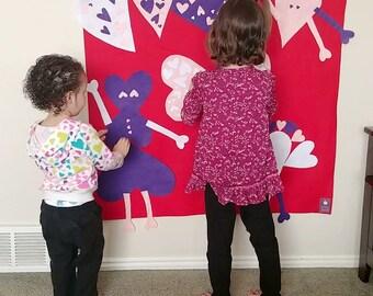 Love Bugs Heart Felt Wall // Learning, Montessori // 3 4 5 6 7 year old gift // Heart Felt Board // Free Shipping