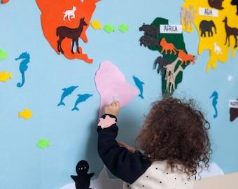 Kids Felt World Map, Montessori Map, Montessori Materials, Continents, Montessori Classroom, Montessori Geography, Handmade, Waldorf