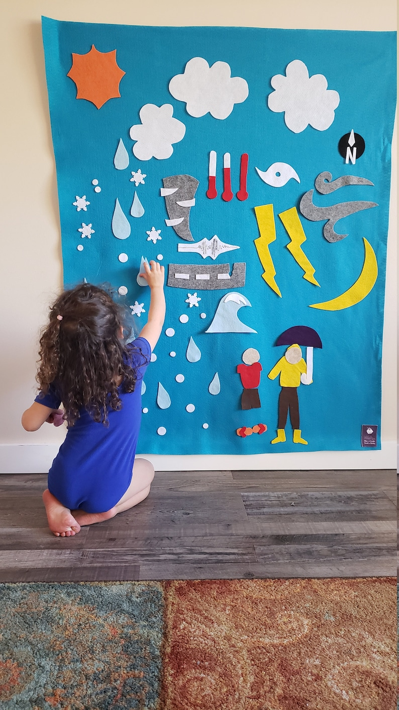 Weather Felt Board // Kids Felt Wall  Montessori Nature // image 0