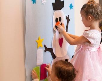 Pattern for Snowman Winter Felt Wall Activity. Snowman Decor, Face, Pattern, Winter Wonderland, Baby, Toddler, Kid, Holiday Gift, Decor