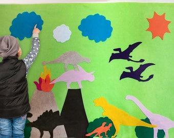 Dinosaur Felt Activity Wall, Dinosaur Birthday Decor, Dinosaur Party Decoration, Dino Game Art Accessory, Dinosaur Girl Gift, Montessori