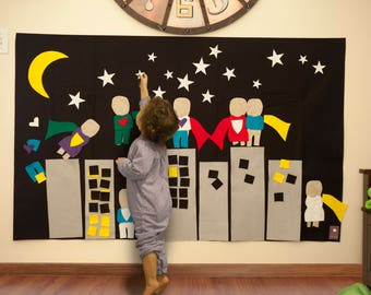 Super Hero Felt Activity Wall, Superhero Birthday Decor, Super Hero Party Decoration, Game Art Accessory, Super Hero Girl Gift Felt