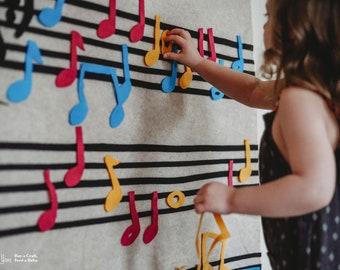 Montessori Learning Music Gift // Felt Board // Kids Gift Felt Wall // Piano Teacher Gift // Girl Boy Gift Age 3 4 5 6 7