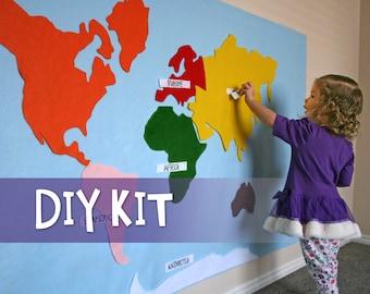 DIY Kit // Kids Craft // Montessori Felt Map of World Continents // Waldorf Learning Tool Toy // Felt Board Kit // Wall Hanging