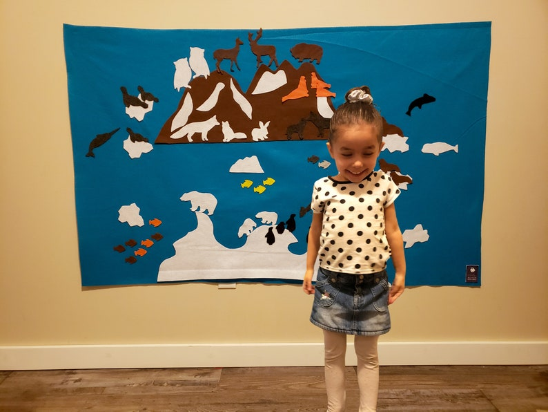 Polar Play Felt Wall // Antarctica Arctic Map for Kids // image 0