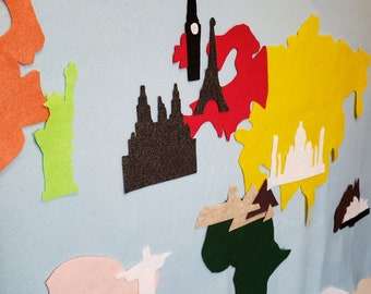 Felt Wall Add-on: Landmarks for Continents // Spanish Learning //  Montessori Materials