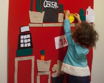 Grocery Store Felt Board // Felt Learning Wall Hanging // Kids Kitchen Activity, Kid's Girl Boy Birthday Gift, Groceries Felt Board