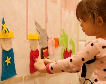 Kids Felt Wall Princess in the Castle. Learning Sensory Activity Play Montessori Waldorf Preschool Home School Fairy Tale Bedroom Decor Gift