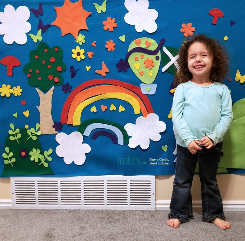 Rainbow Felt Board // Kids Felt Wall  Spring // Rainbow Party image 0