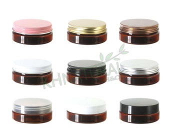 Pack of 4, 50ml / 2oz Amber PET Jars with Plastic or Metal Caps