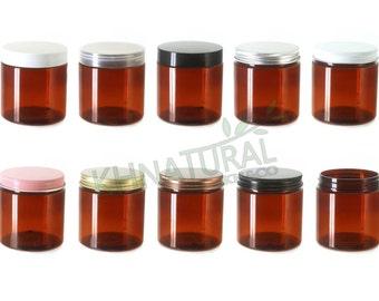 Pack of 4, 200ml / 7oz Amber PET Jars with Plastic or Metal Caps