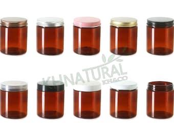 Pack of 4, 250ml / 8.5oz Amber PET Jars with Plastic or Metal Caps