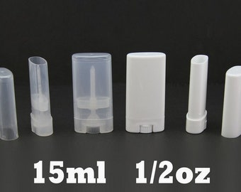Empty Oval Lip Balm Tubes Deodorant Containers Clear White 15ml