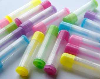 10 Colored translucent Empty LIP BALM Containers (Tubes & Caps) Pick Color