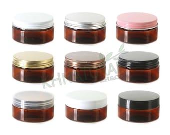 Pack of 4, 80ml / 3oz Amber PET Jars with Plastic or Metal Caps