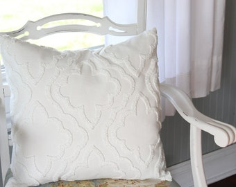 Off White Linen and Chenille Pillow Cover - Farmhouse Pillow Cover -