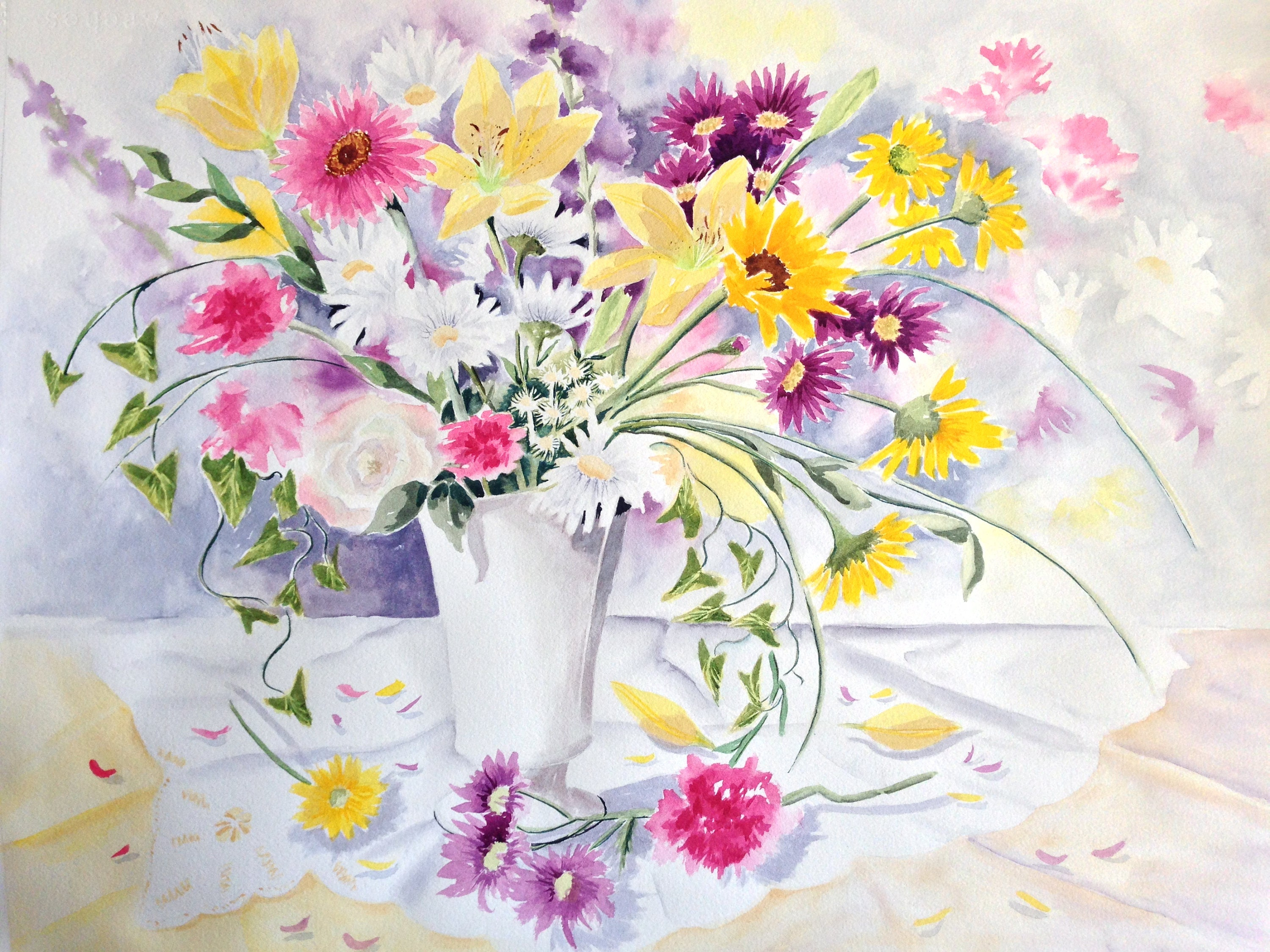 Flower Painting In Watercolor Yellow Lilies Daisies Sunflowers