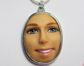 Pale Ken Face Necklace | Ice Blue Eyes  | Dollfaced