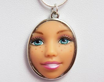 Freckled Barbie Doll Face Necklace | Ice Blue Eyes with Cute Freckles |  Dollfaced